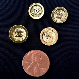 Set Of 4 Vintage 80s CHANEL Starburst Gold Buttons
